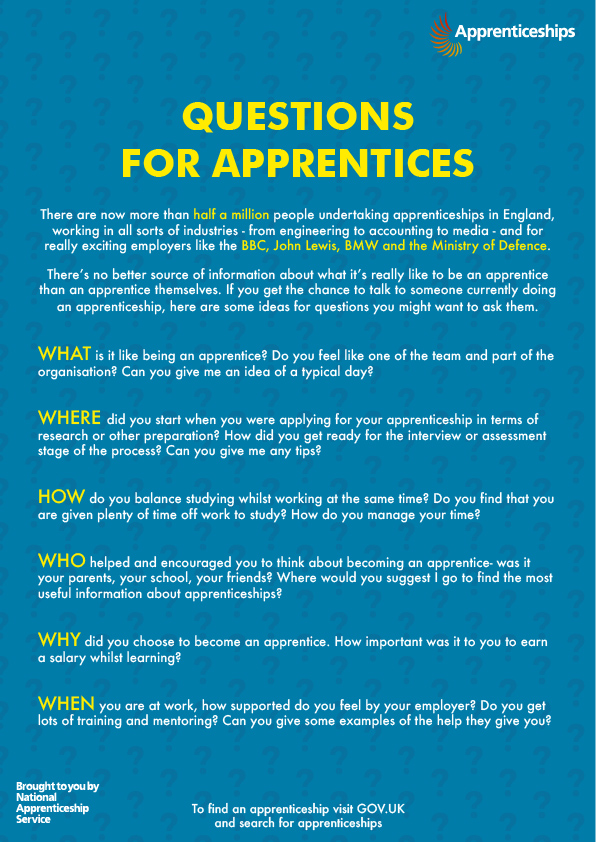 Questions for apprentices