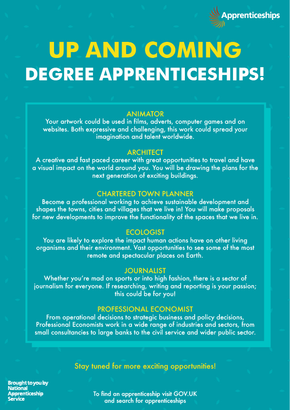 Up and coming degree apprenticeships