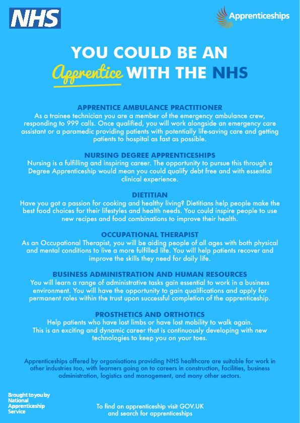 Apprenticeships with the NHS