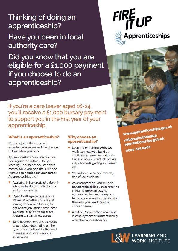 Care leavers flyer – apprentice