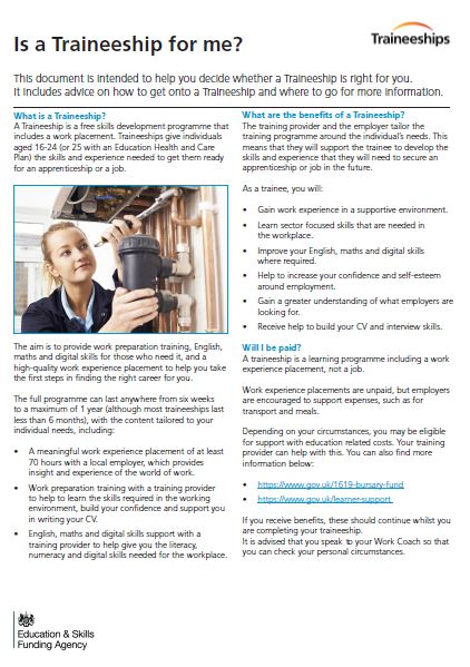 Traineeship Factsheet