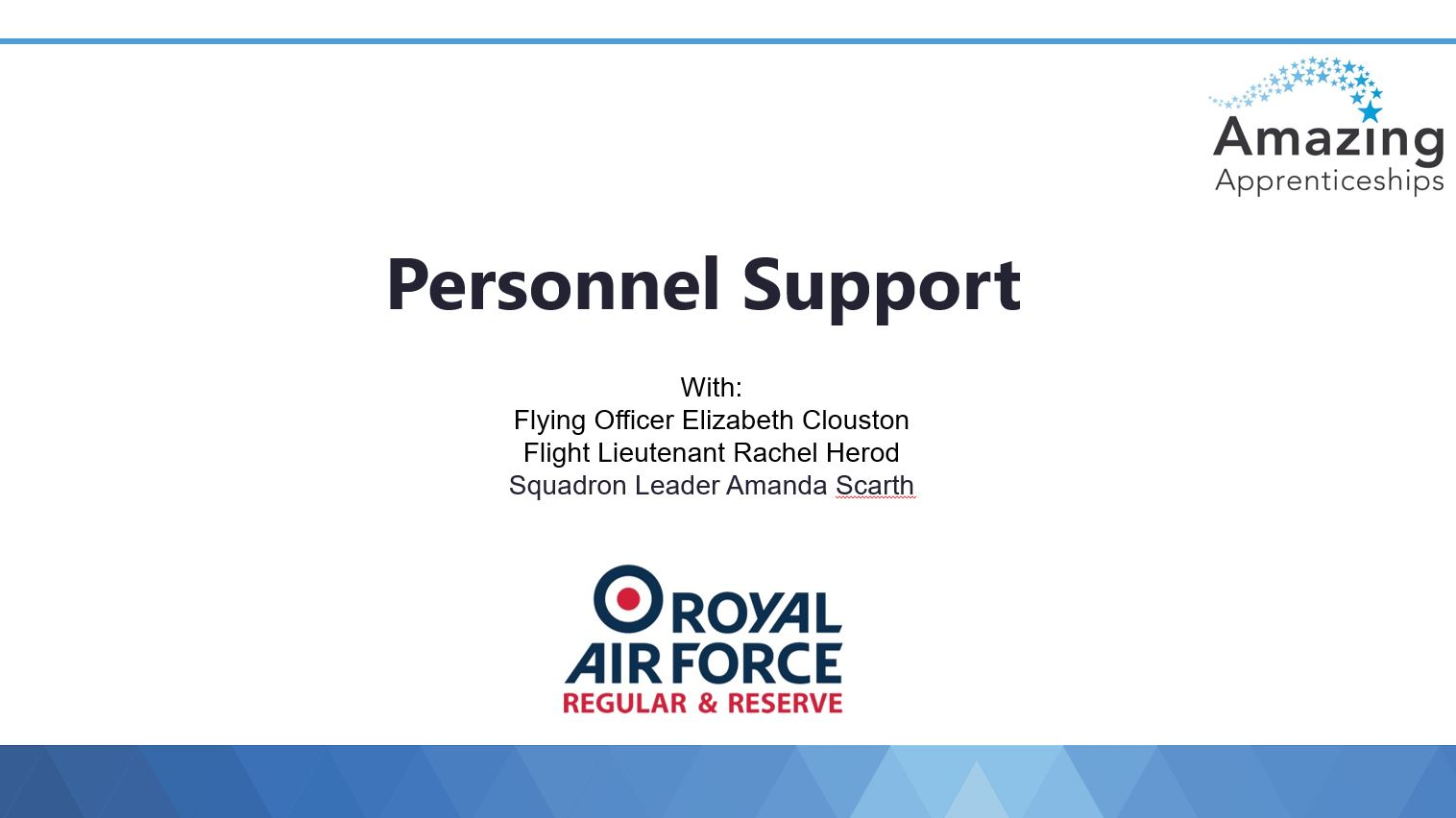 RAF No room for clichés webinar slides – Personnel Support